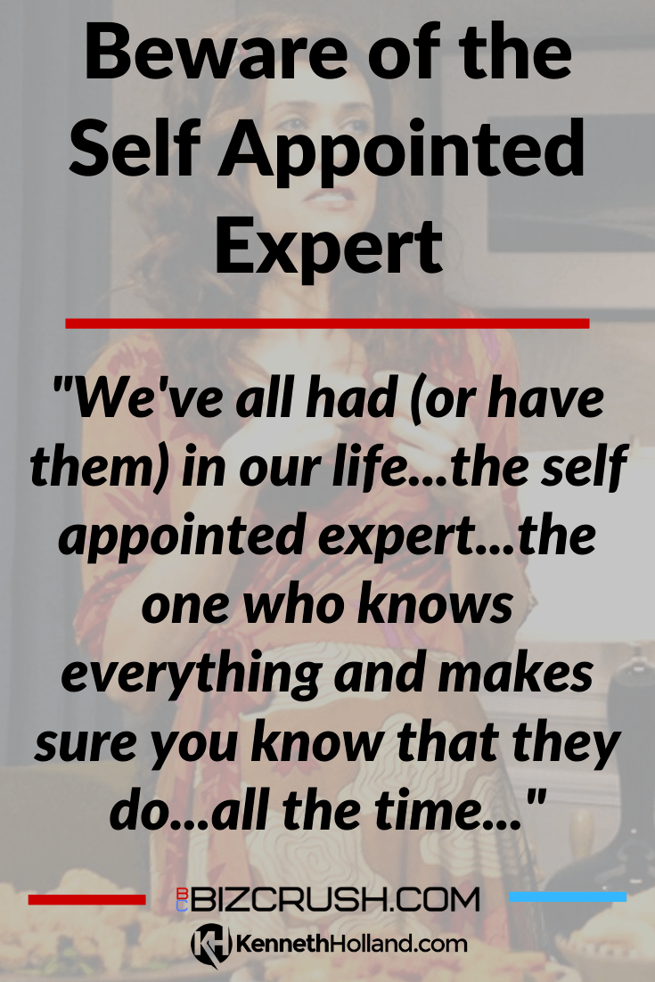 "The headline of this post ""Beware of the Self Appointed Expert"" over a background image of SNL actress Kristin Wiig"