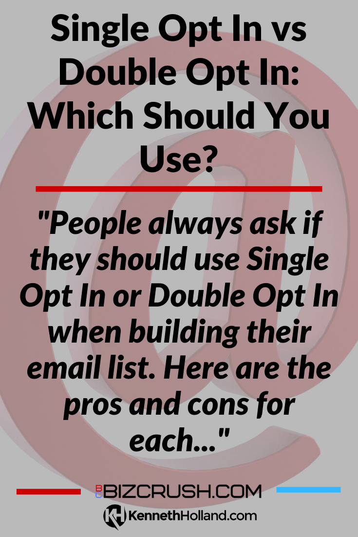 "The headline of this post ""Single Opt In vs Double Opt In: Which Should You Use?"" over a background image of an email 'at' symbol"