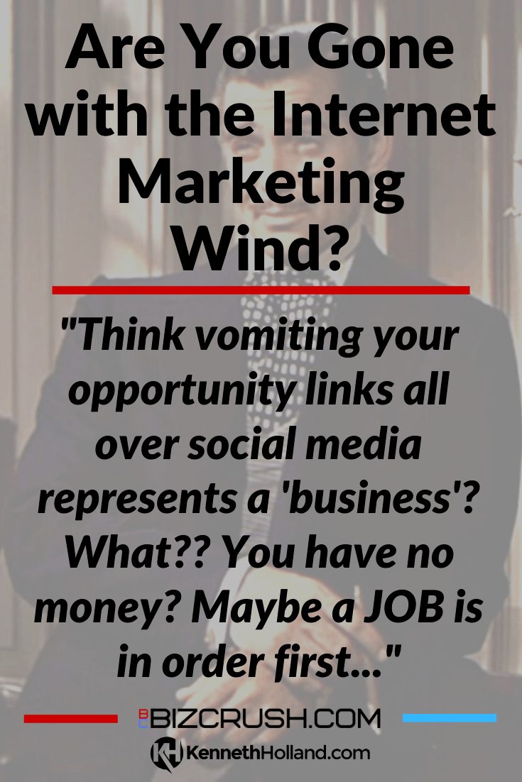 "The headline of this post ""Are You Gone with the Internet Marketing Wind?"" over a background image of Rhett Butler"