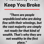 The headline of this post 'Why The Lottery Mentality Will Keep You Broke' over a background image of white space.